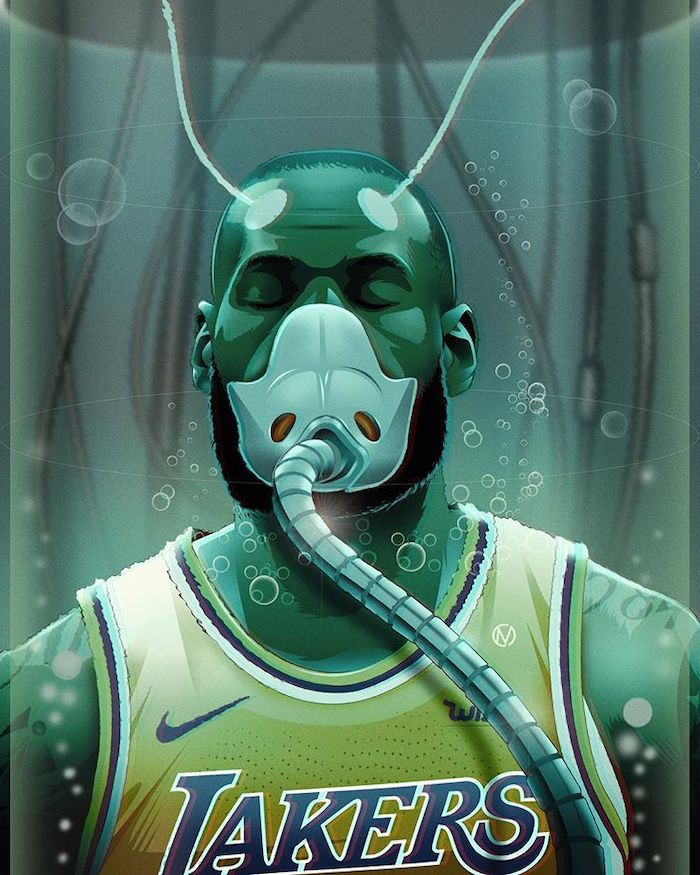 drawing of lebron james inside water held by wires cool nba wallpapers wearing lakers uniform