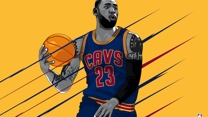 drawing of lebron james wearing cleveland cavaliers uniform holding a ball lakers wallpaper yellow background