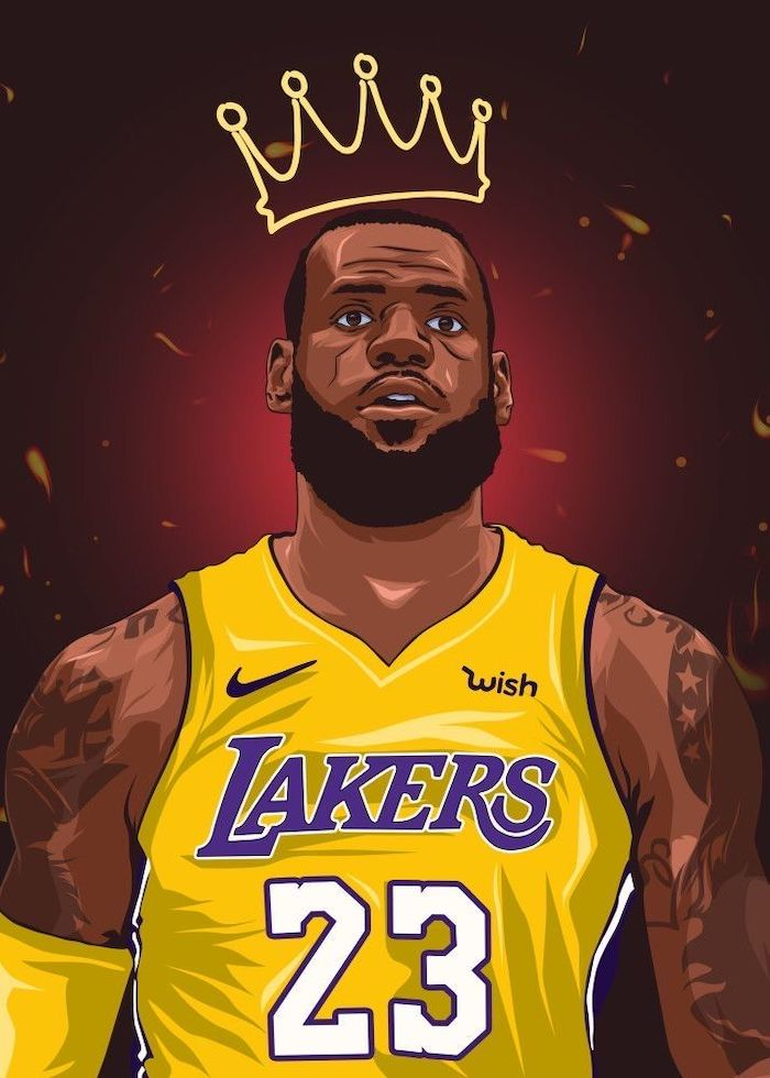 drawing of lebron wearing lakers uniform drawing of a crown above his head best basketball wallpapers red background
