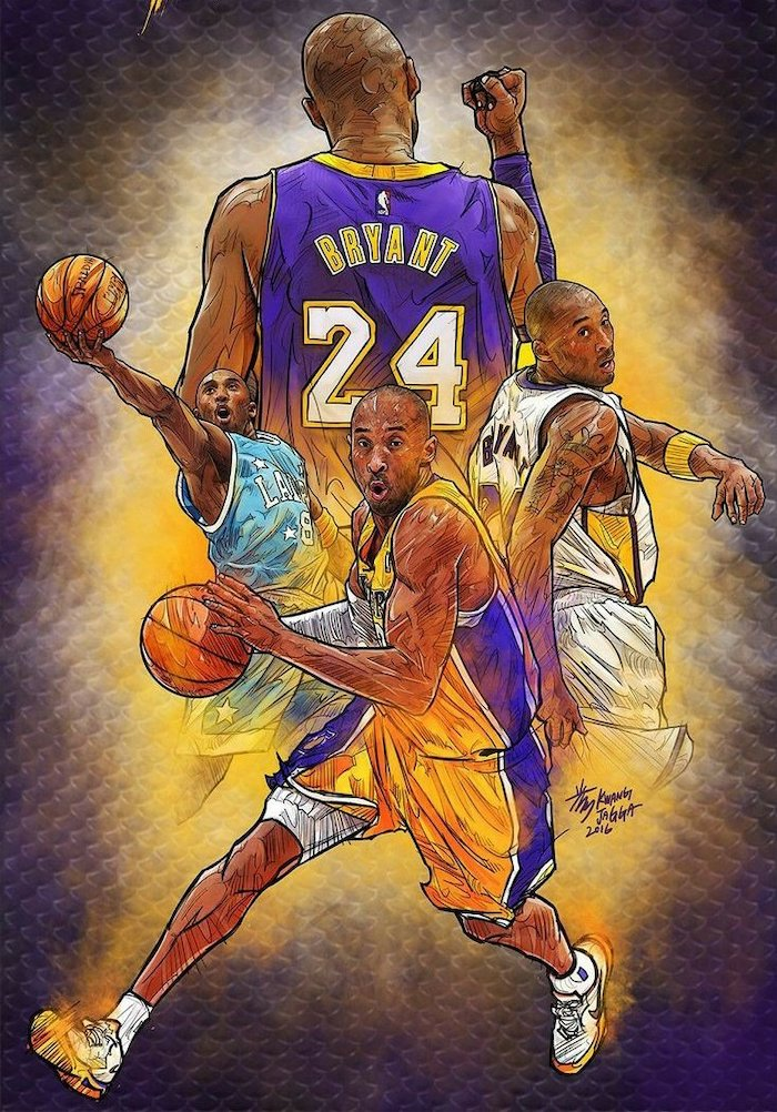 drawings of kobe bryant in different lakers uniforms cool kobe bryant wallpapers holding basketballs