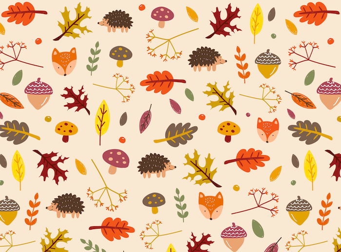 drawings of mushrooms green yellow orange leaves hedgehogs fall iphone wallpaper white background