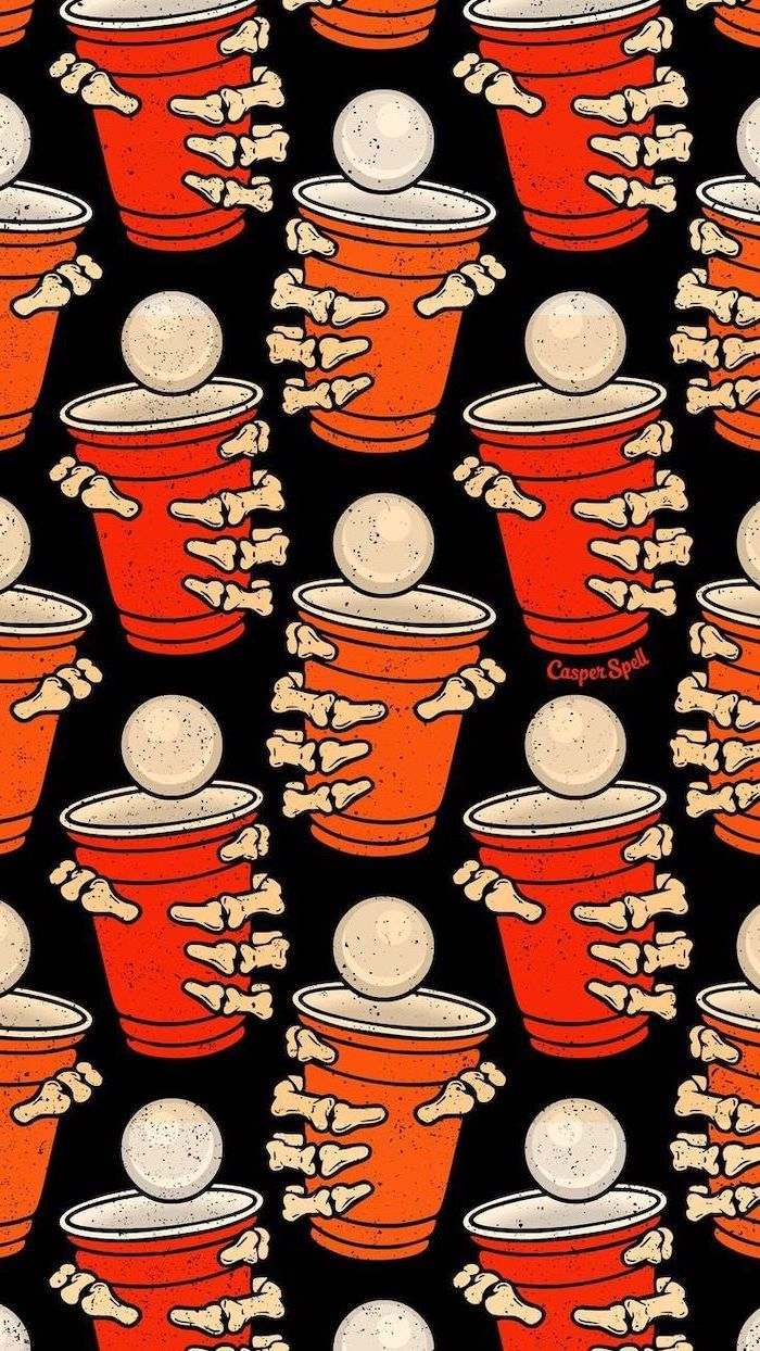 drawings of red and orange cups held by skeleton hands scary halloween background black background
