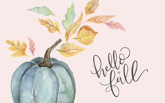 fall iphone wallpaper watercolor drawing of pumpkin with fall leaves around it hello fall written in cursive