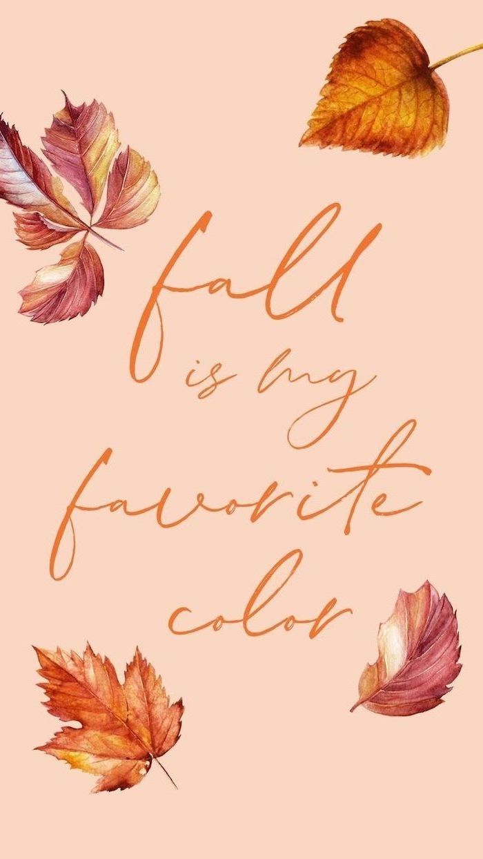 fall is my favorite color written with orange cursive font cute fall backgrounds drawings of four leaves in orange and pink