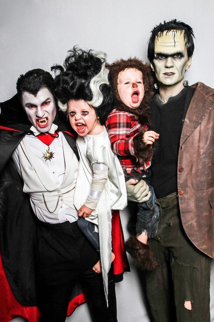 family halloween costumes david burtka neil patrick harris dressed as frankenstein and dracula babies as werewolf and vampire