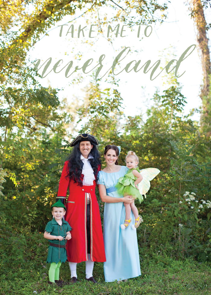 family halloween costumes with baby mom dad and two kids dressed as characters from peter pan tinkerbell captain hook wendy