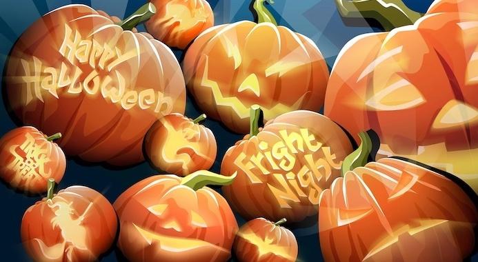 fright night happy halloween trick or treat written on pumpkins cute halloween wallpaper digital drawing of jack o lanterns