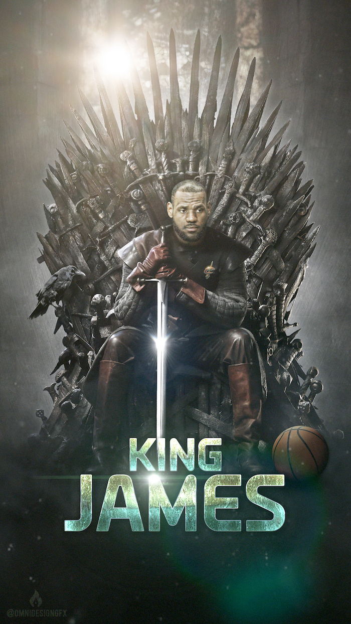 game of thrones throne lebron sitting on it holding a sword basketball at his feet lebron james pictures king james written underneath