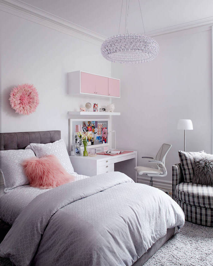 gray walls and bed linen pink throw pillow decor above the wall and cabinets white desk black and white armchair teenage girl beds