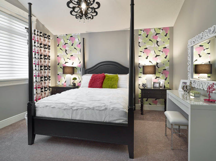 gray walls with colorful accents room decor ideas for teenage girl bed with wooden black frame gray carpet