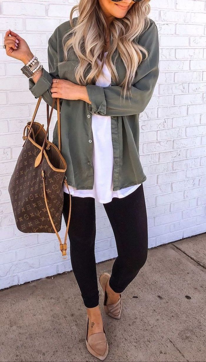 green shirt white top black leggings beige loafers louis vuitton bag worn by woman with long wavy blonde hair fall dresses for women