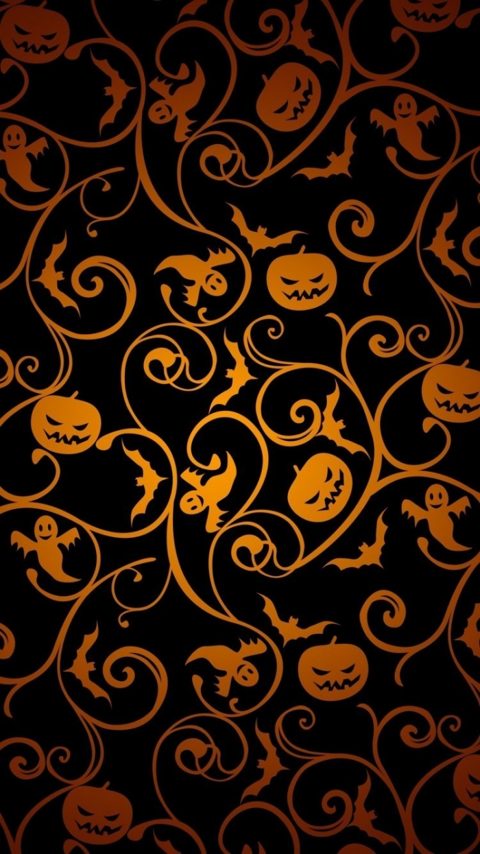 halloween background images black background drawings of jack o lanterns bats ghosts drawn in orange