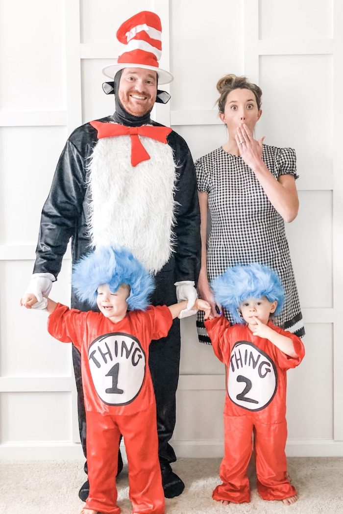 halloween costumes for three people family of four dressed as characters from the cat in the hat kids as thing one and thing two