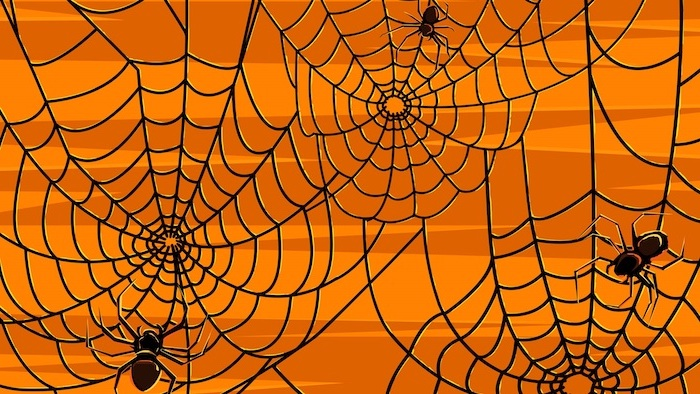 halloween wallpaper background in light and dark orange drawing of spider webs and spiders at the forefront