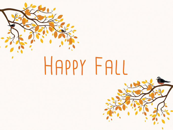 happy fall written in orange over white background autumn wallpaper drawings of tree branches with orange leaves birds in both corners