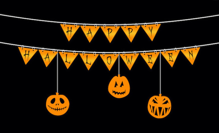 happy halloween orange banner drawing with three carved pumpkins hanging from it cute halloween wallpaper black background