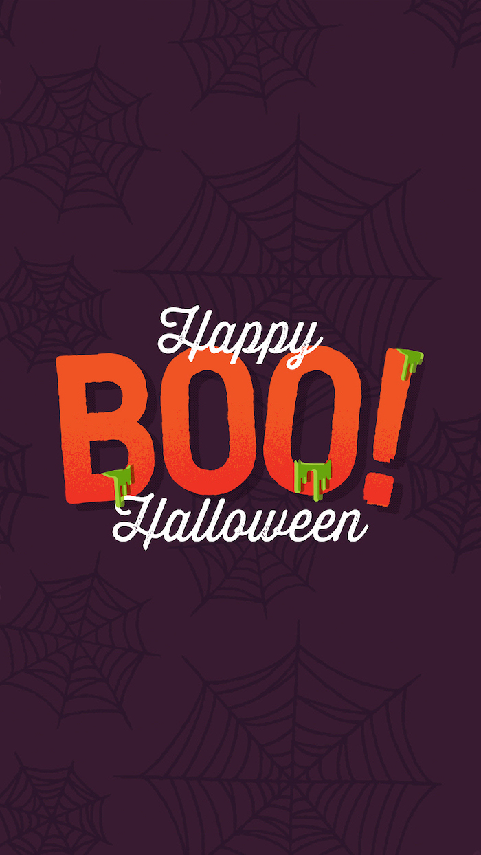 happy halloween written in white around the word boo written in orange scary halloween wallpaper purple background with spider webs