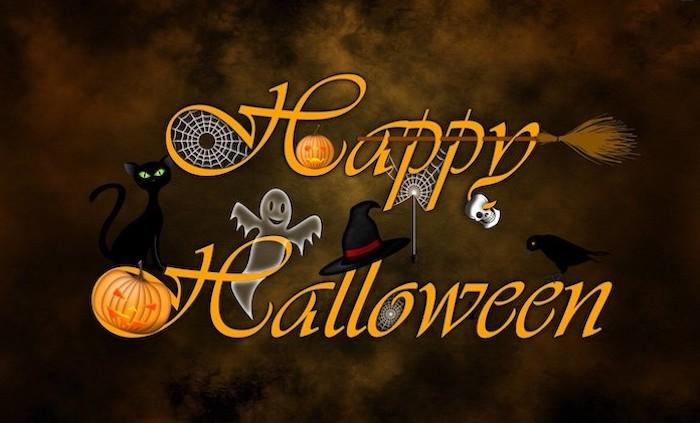 happy halloween written with orange letters halloween iphone wallpaper pumpkins ghost spider webs broom