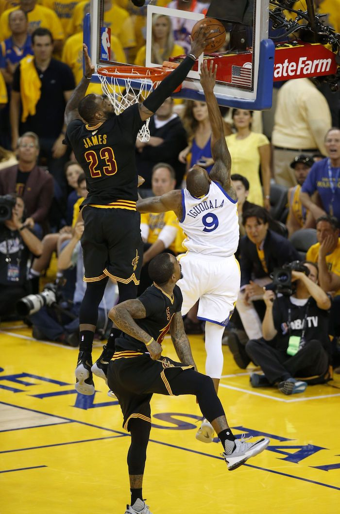 iguodala blocked by james at the nba finals best basketball wallpapers photo from the side of the court