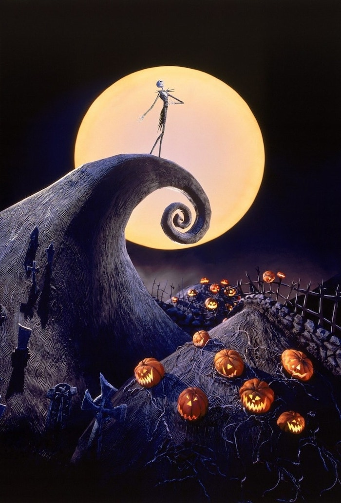jack skellington from the nightmare before christmas standing on rock in front of full moon halloween background images over pumpkin patch