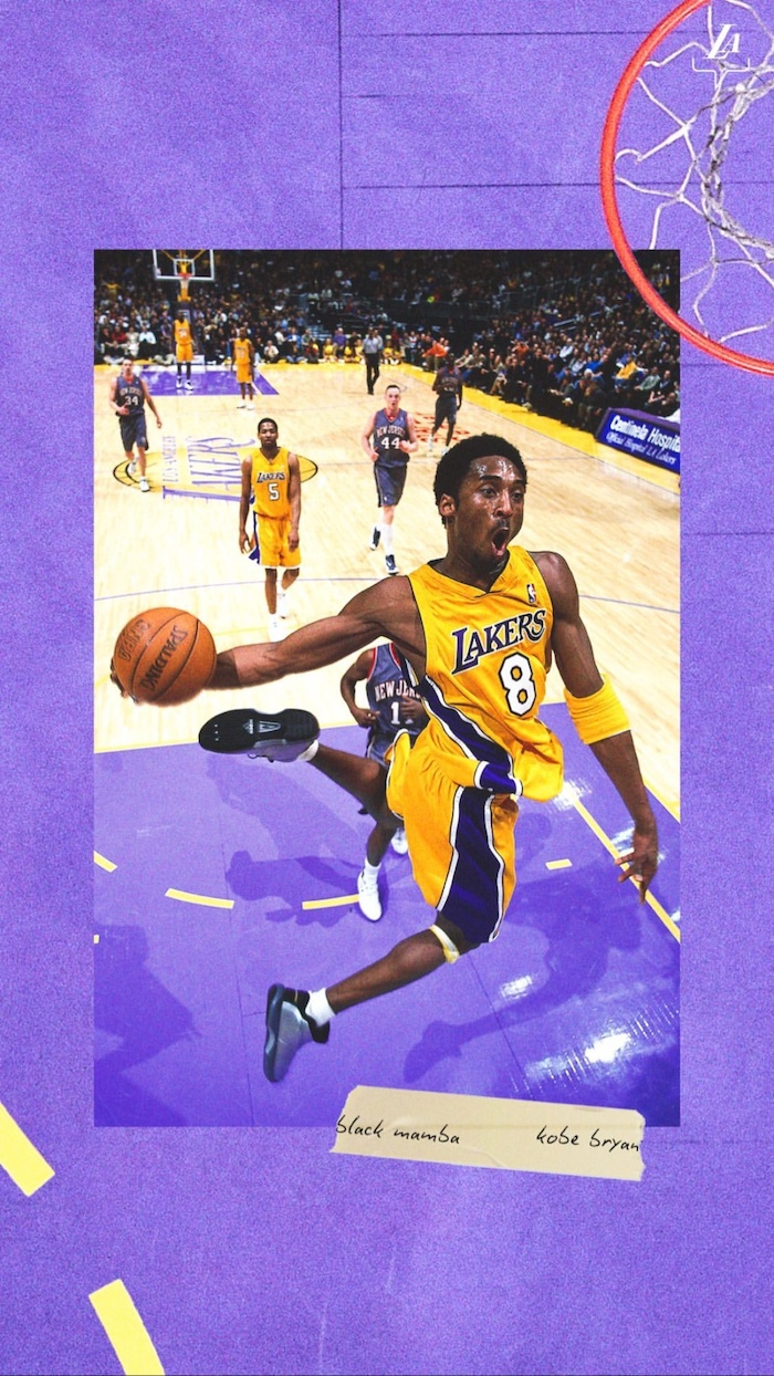 kobe in the air about to dunk the ball wearing number eight lakers uniform kobe bryant wallpaper iphone purple background
