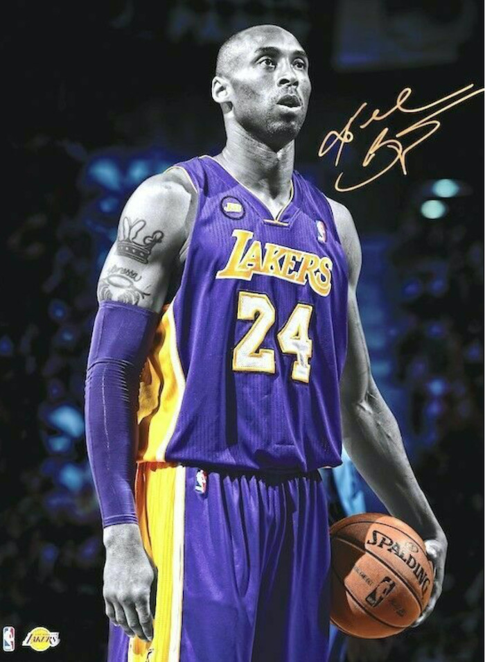 kobe wearing purple laers uniform purple arm sleeve holding a basketball kobe and gigi wallpaper photographed on the court his signature in the corner
