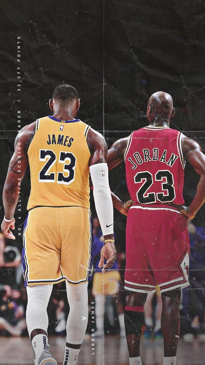 lebron james in lakers uniform michael jordan in chicago bulls uniform lebron james lakers wallpaper standing next to each other on the court