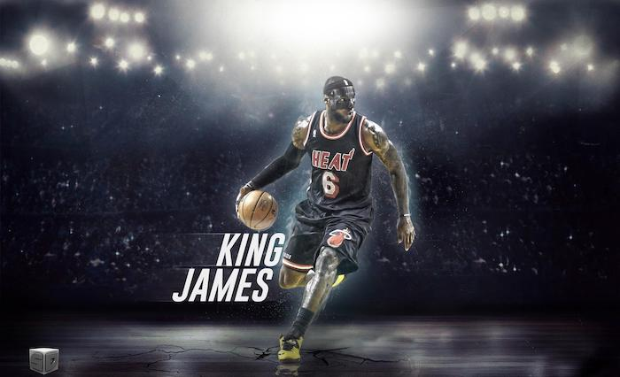 lebron james on the court wearing miami heat uniform dribbling the ball wearing face mask lakers wallpaper king james written in white
