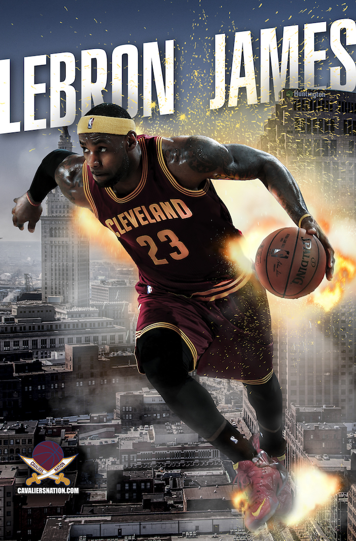 lebron james wallpaper iphone wearing cleveland cavaliers uniform dribbling the ball city of cleveland in the background