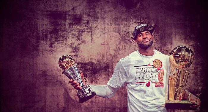lebron james wearing miami heat warm up blouse lebron wallpaper holding the larry obrient finals mvp trophy