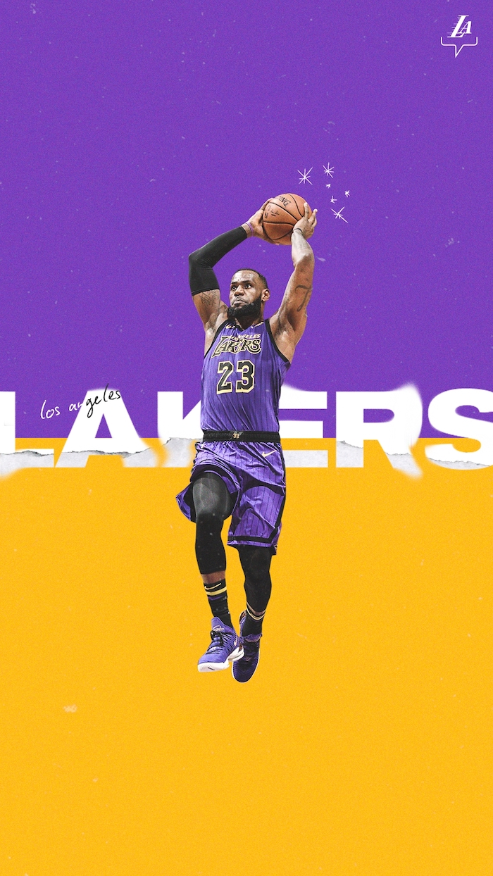 lebron jumping in the air holding ball wearing purple lakers uniform cool nba wallpapers purple and yellow background