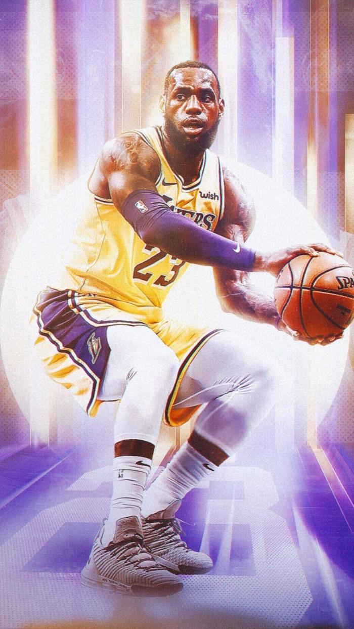 lebron wearing lakers uniform dribbling the ball lebron james lakers wallpaper purple and gold background