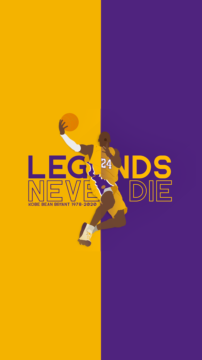 legends never die kobe bean bryant kobe bryant wallpaper hd purple and yellow background with drawing of kobe jumping with basketball