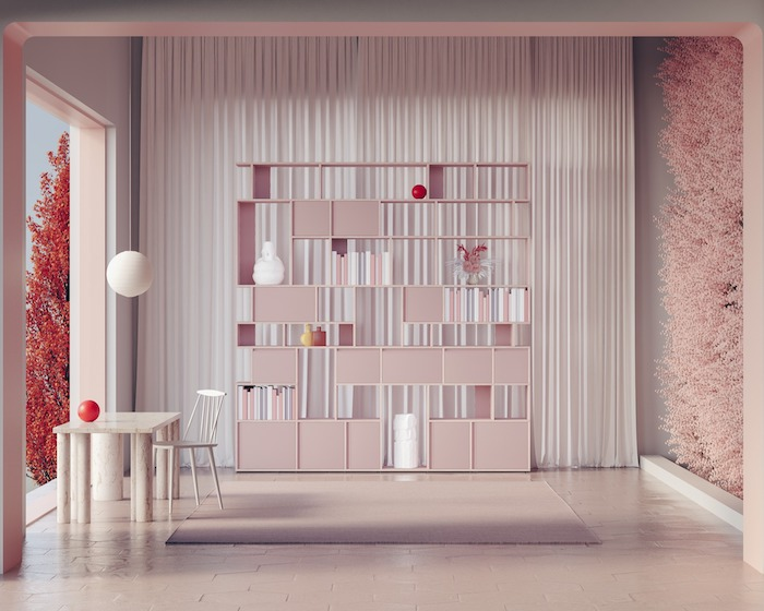 light pink bookcase with cabinets and shelves in different shapes bookcase ideas white curtain behind it small white desk and chair at the front