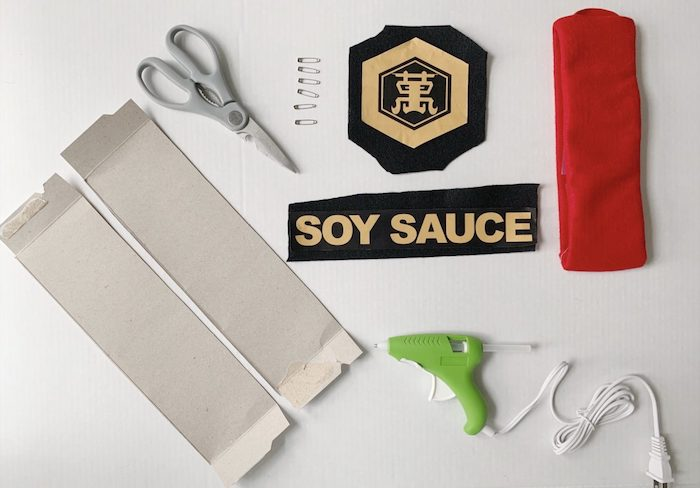 matching family halloween costumes step by step diy tutorial soy sauce costume red fabric glue gun scissors