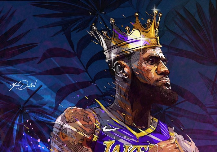 nba wallpaper drawing of lebron james wearing lakers uniform crown on his head blue background