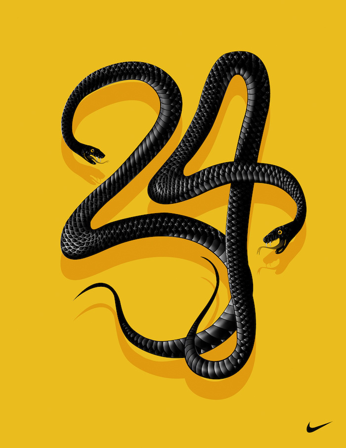 number twenty four written with drawing of two black mambas on yellow background kobe bryant and gigi wallpaper nike logo at the bottom corner