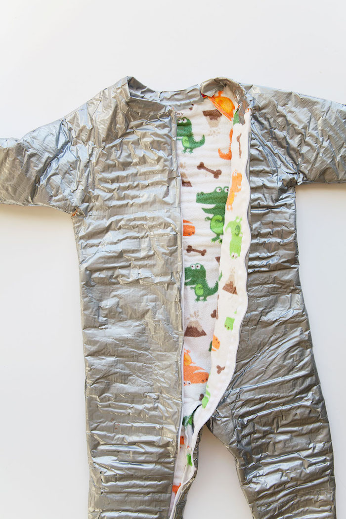 onesie covered with gray duct tape placed on white surface creative halloween costumes step by step diy tutorial