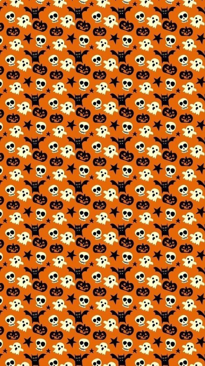 orange background halloween desktop backgrounds black bats jack o lanterns stars white ghosts skulls drawn