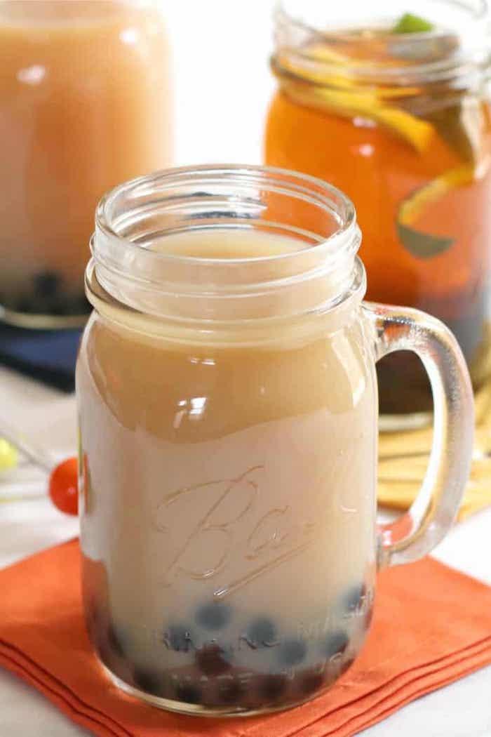 orange napkin glass jar on top how to cook tapioca pearls filled with vegan bubble tea