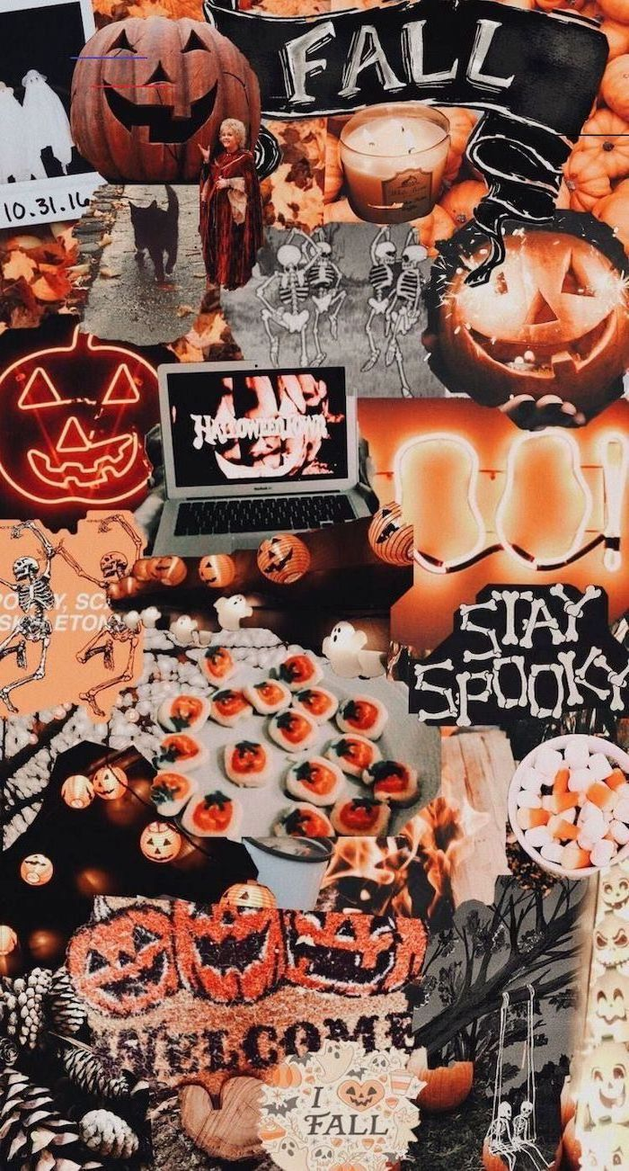 photo collage for halloween with skeletons jack o lanterns halloween desktop backgrounds candles spooky images