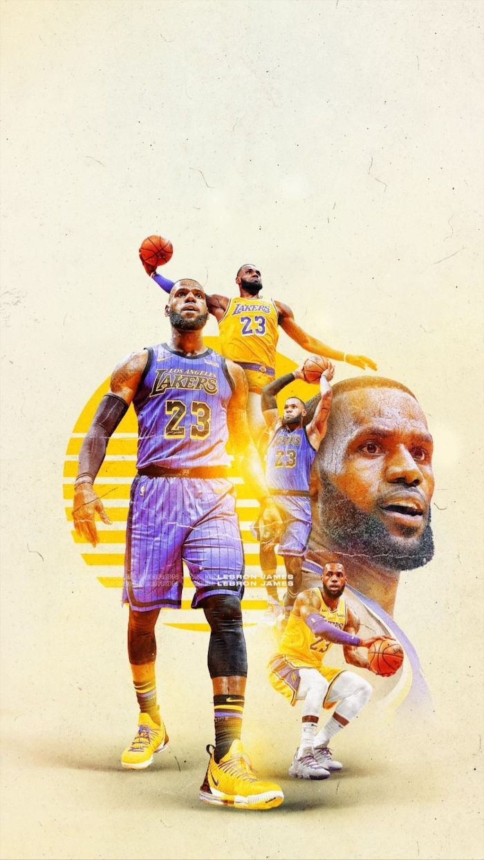 photo collage of lebron james wearing different lakers uniforms on the court lebron james pictures white background