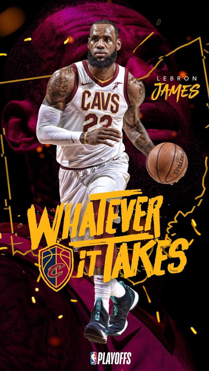 photo collage of lebron wearing cavaliers uniform dribbling the ball lebron james lakers wallpaper whatever it takes written in yellow