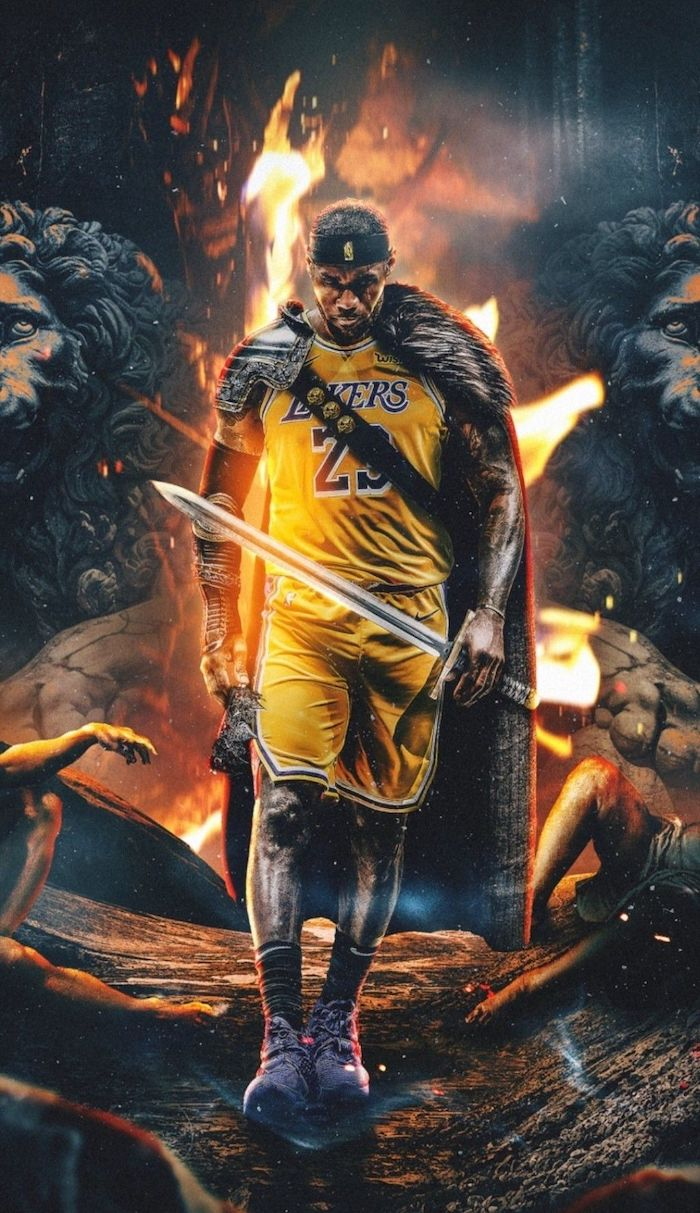 photo collage of lebron wearing lakers uniform holding a sword wearing a cape lebron james pictures lions statues in the background