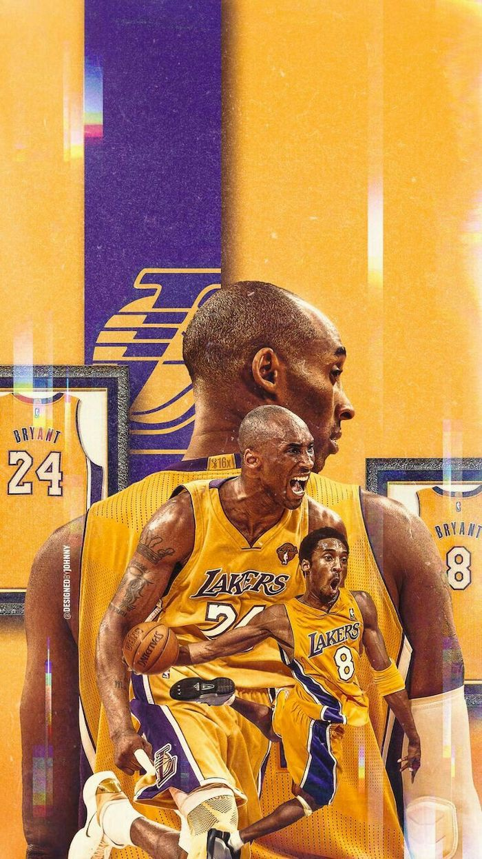 photo collage of three separate ohotos of kobe on purple and gold background with lakers logo cool kobe bryant wallpapers his jerseys framed