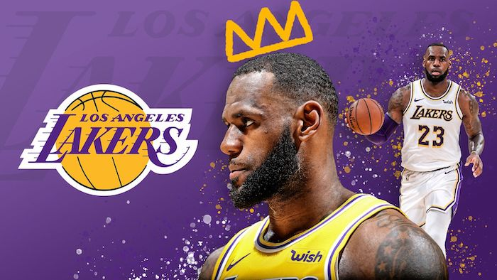 photo collage of two photos of lebron james wallpaper los angeles lakers logo purple background
