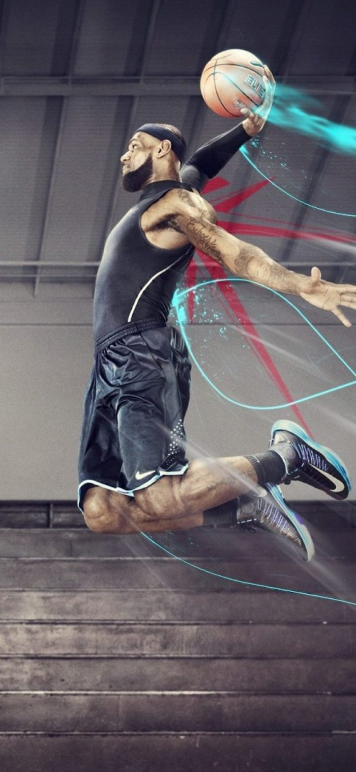 photo of lebron james jumping in the air with the ball in his hands lebron james wallpaper iphone empty court