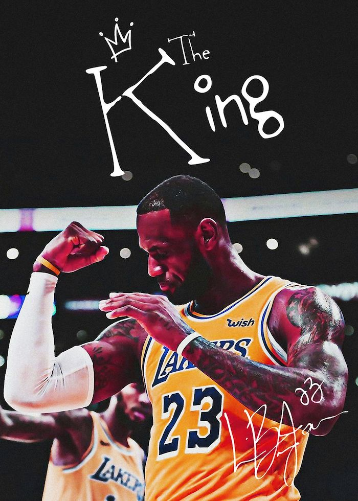 photo of lebron wearing lakers uniform flexing on the court lebron james background the king written above him with his autograph