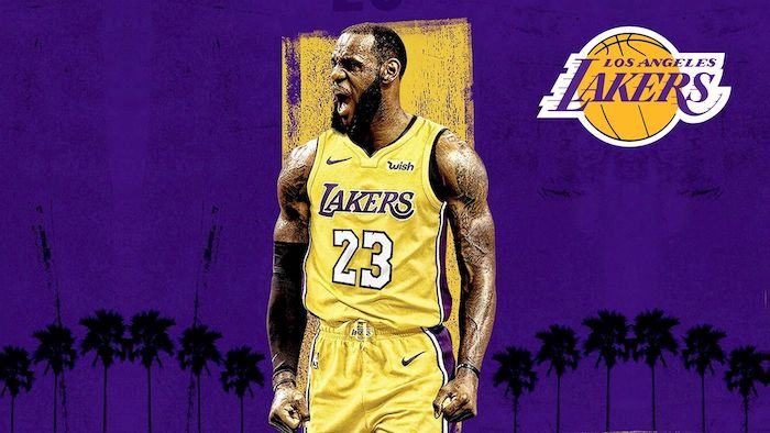 photo of lebron wearing lakers uniform lebron james wallpaper purple background with palm trees los angeles lakers logo in the top corner