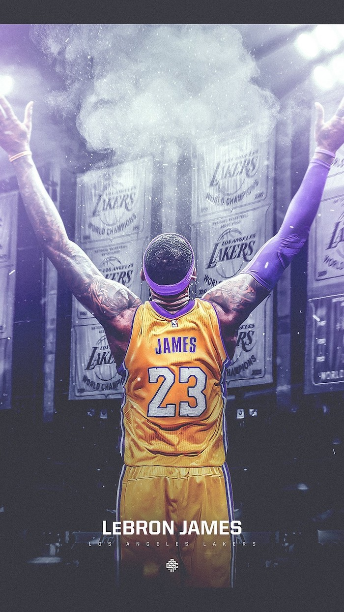 photo of the back of lebron wearing lakers uniform throwing powder in the air lebron james wallpaper iphone